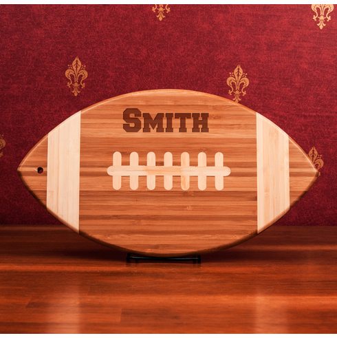 Personalized Engraved Football Shaped Bamboo Cutting Board