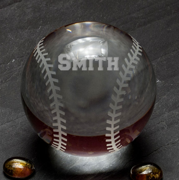 "Personalized Etched 3"" Crystal Baseball"