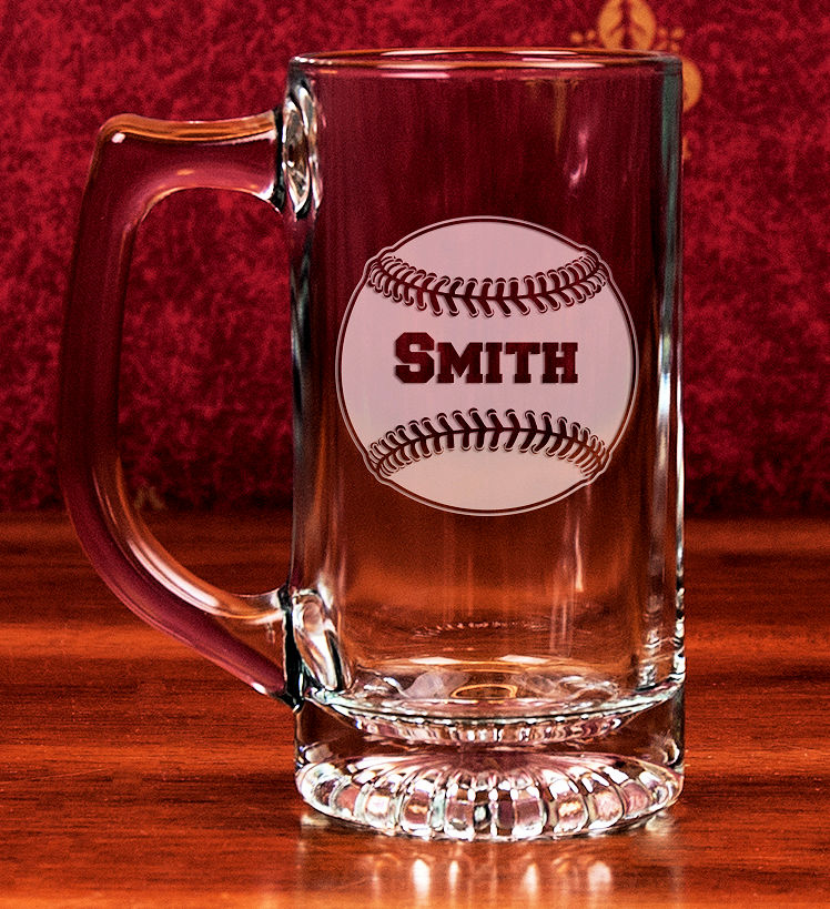 Personalized Etched Baseball 13oz Star Bottom Glass Sports Mug