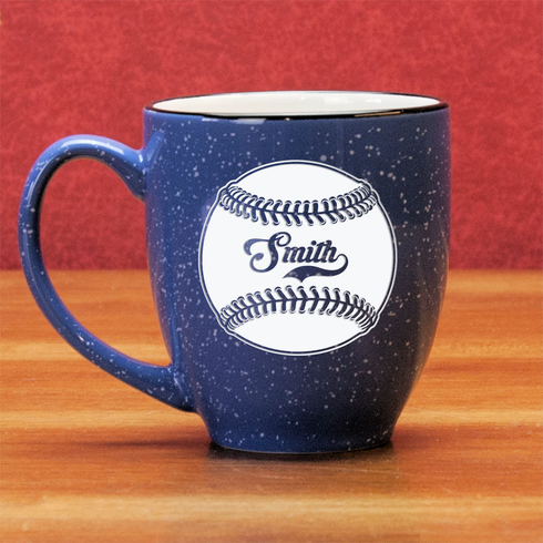 Personalized Etched Baseball 15oz Bistro Mug<br>3 COLORS!