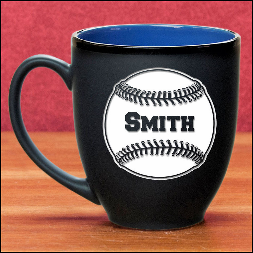 Personalized Etched Baseball 16oz Black Matte Bistro Mug<br>3 COLORS!