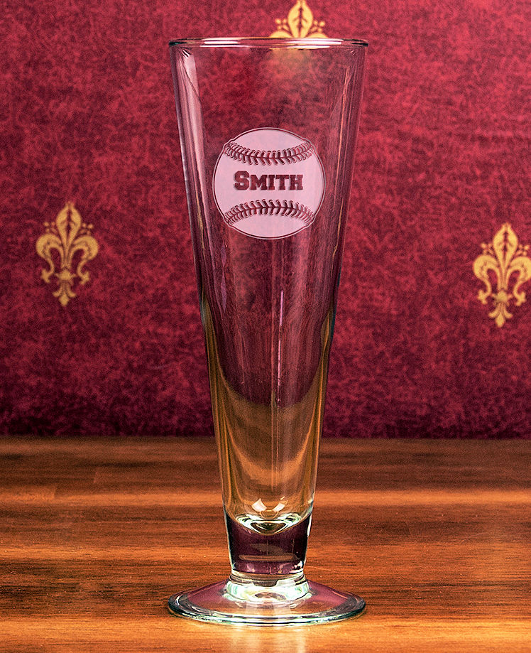 Personalized Etched Baseball 16oz Classic Pilsner Glass