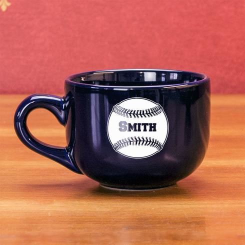Personalized Etched Baseball 16oz Cobalt Chowder Mug