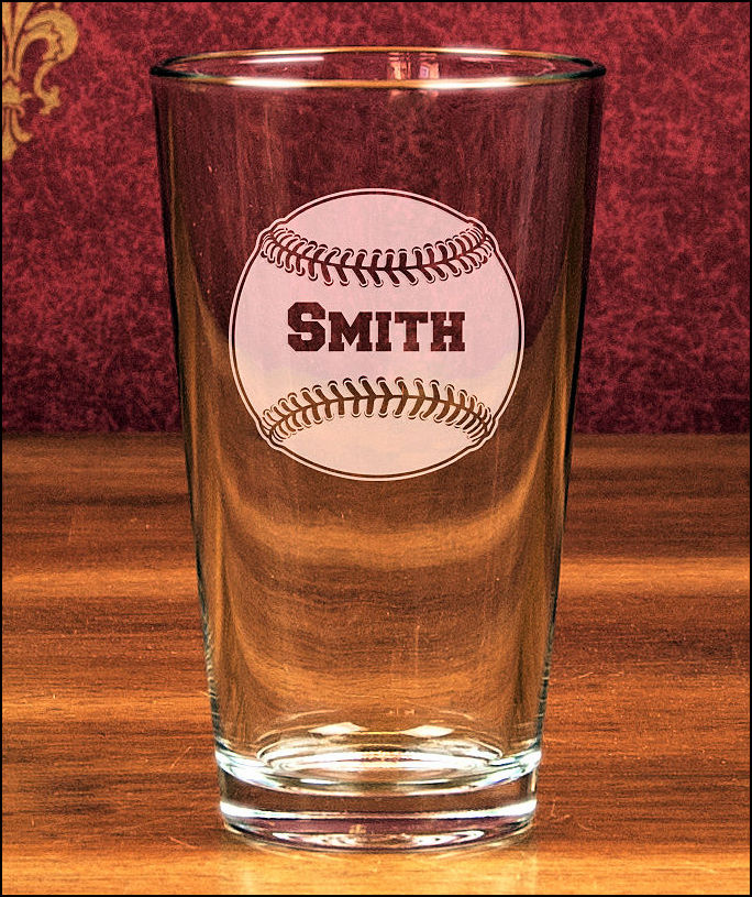 Personalized Etched Baseball 16oz Mixing Glass