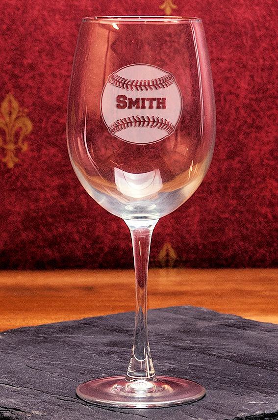 Personalized Etched Baseball 16oz Wine Glass