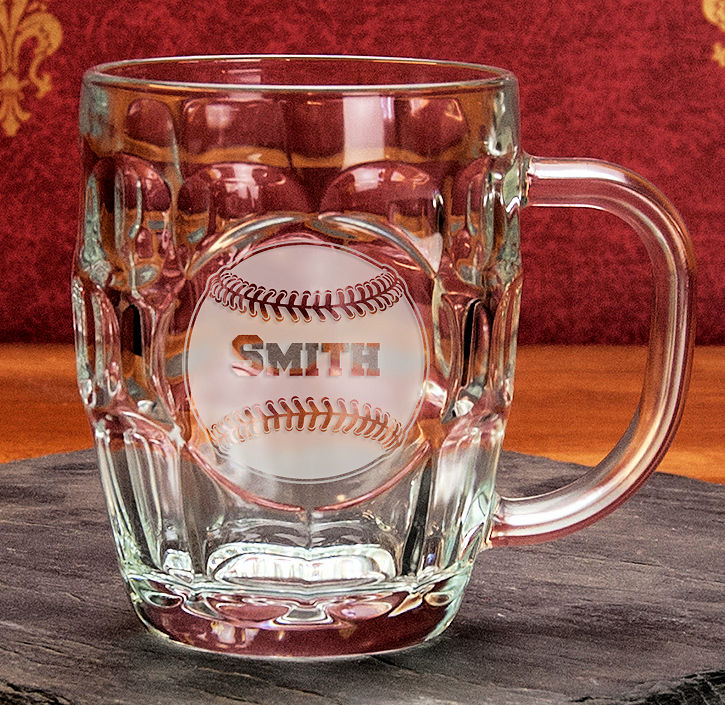 Personalized Etched Baseball 19oz Britannia Glass Mug