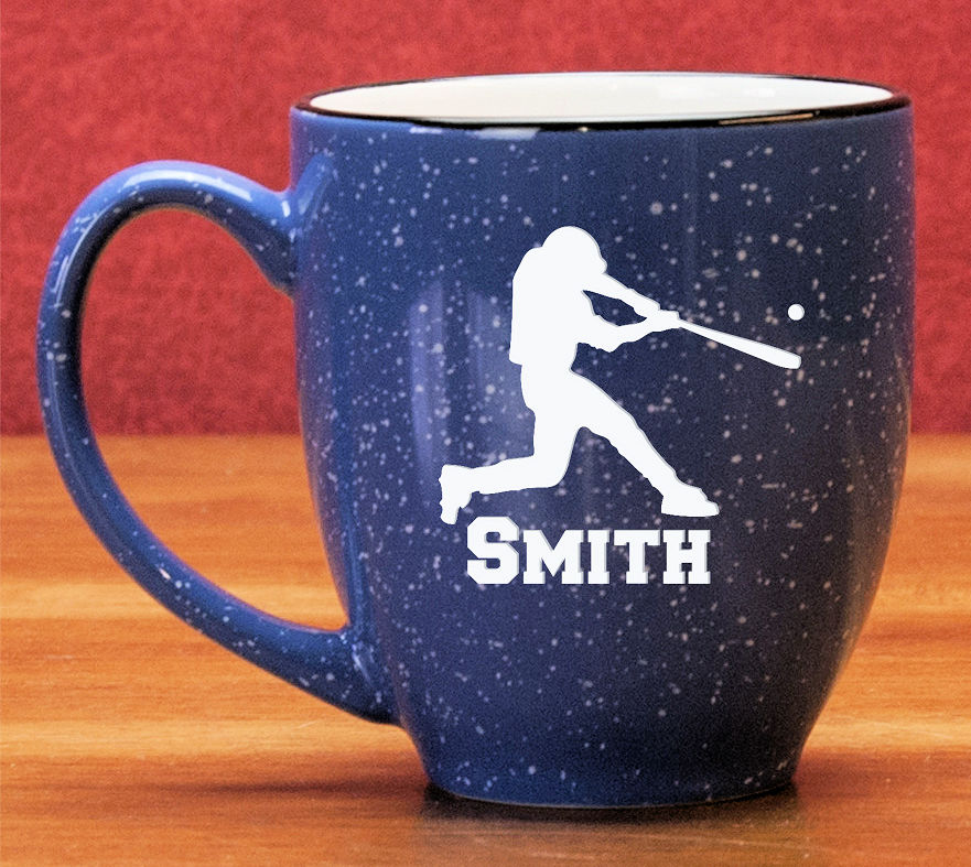 Personalized Etched Baseball Batter 15oz Blue Bistro Mug