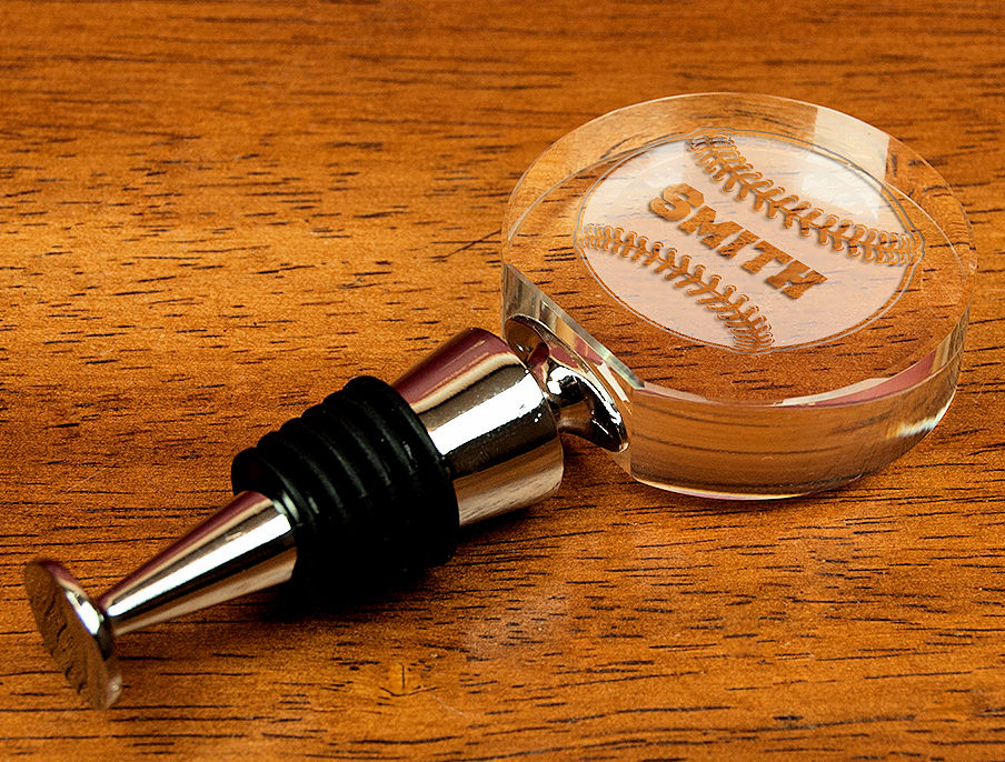 Personalized Etched Baseball Crystal Wine Stopper