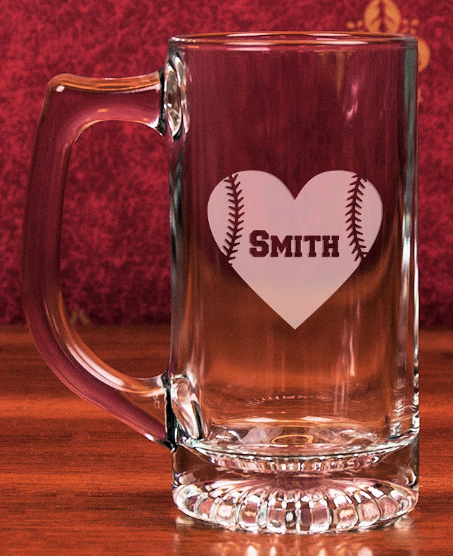 Personalized Etched Baseball Heart 13oz Star Bottom Glass Sports Mug