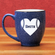 Personalized Etched Baseball Heart 15oz Blue Bistro Mug