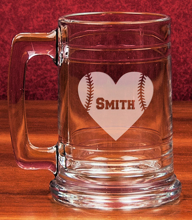 Personalized Etched Baseball Heart 15oz Colonial Glass Tankard