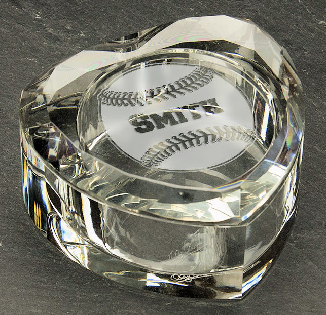Personalized Etched Baseball Heart Shaped Crystal Ring Box