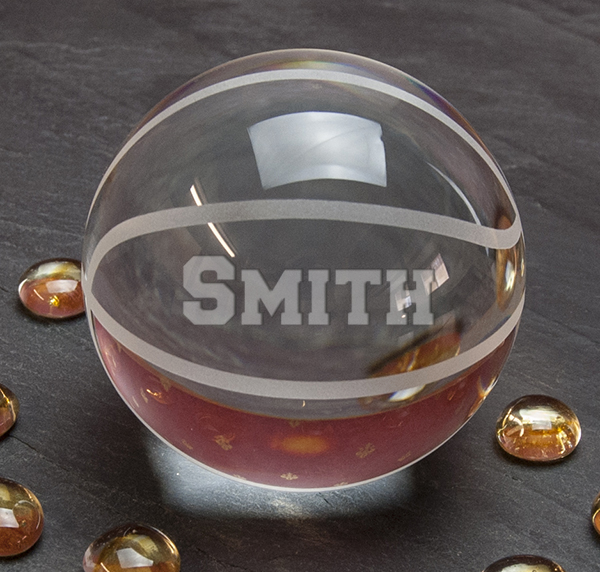 Personalized Etched Crystal Basketball