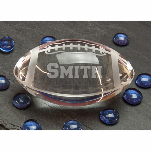 Personalized Etched Crystal Football