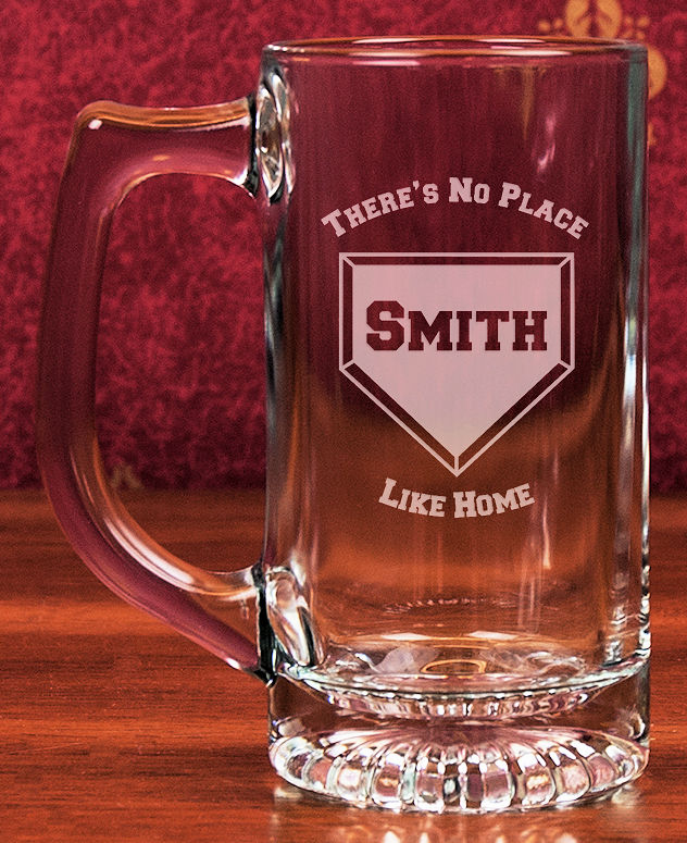 Personalized Etched Home Plate 13oz Star Bottom Glass Sports Mug