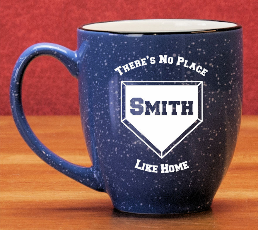 Personalized Etched Home Plate 15oz Blue Bistro Mug
