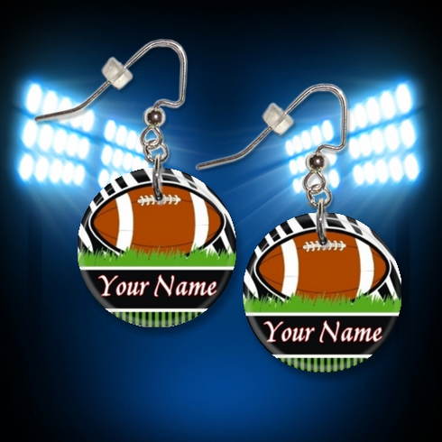 Personalized Football Button Dangle Earrings