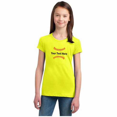 Personalized Girls and Ladies Softball T-Shirt<br>Choose Your Text<br>Girls XS - Ladies 4X