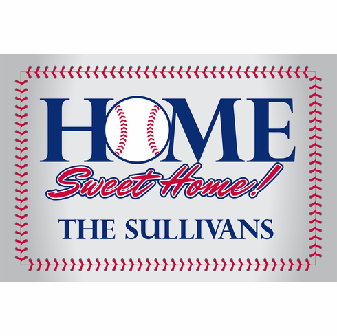 Personalized Home Sweet Home Baseball Stitch Doormat