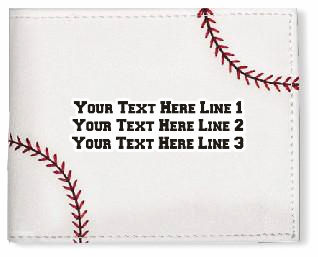 Personalized Men's White Baseball Wallet