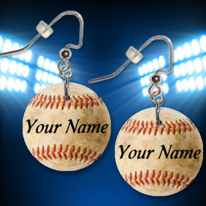 Personalized Old Baseball Button Dangle Earrings