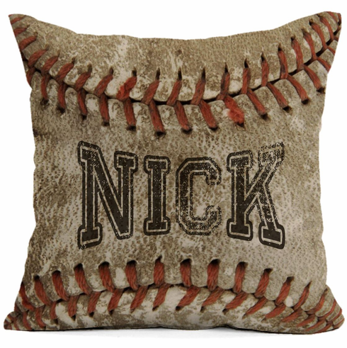 Personalized Old Baseball Square Pillow
