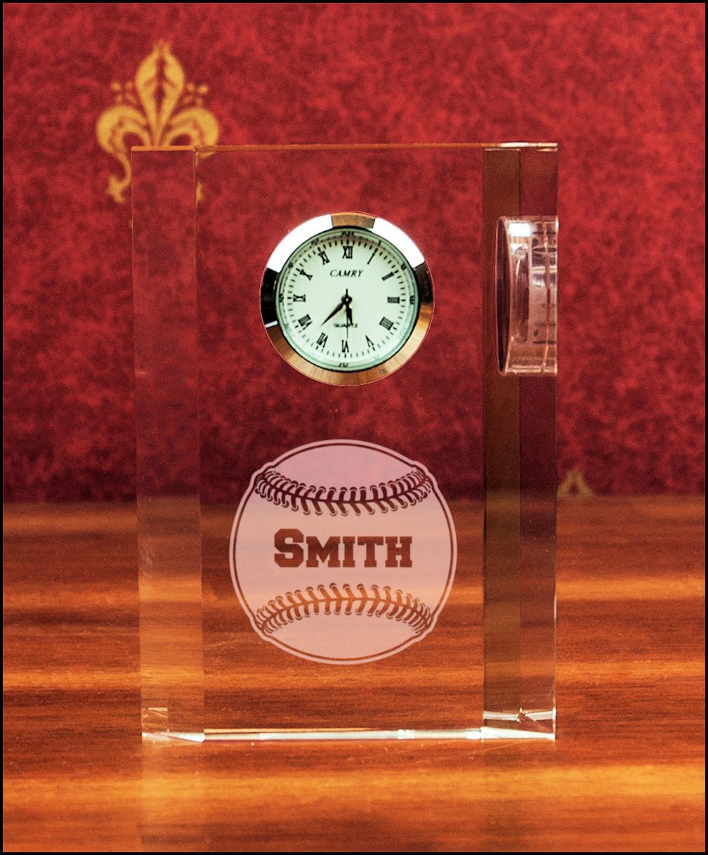 Personalized Optic Crystal Baseball Desk Clock
