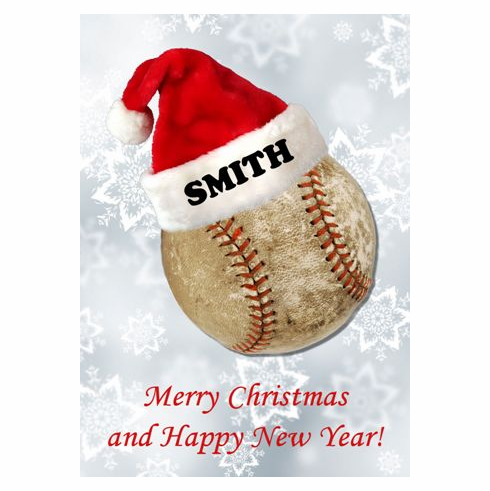 Personalized Santa Hat on Baseball Christmas Cards<br>60 CARD MINIMUM