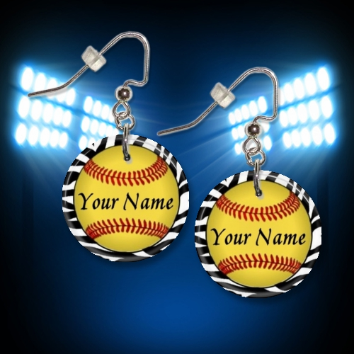 Personalized Softball Button Dangle Earrings