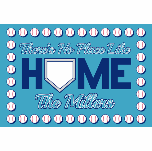 Personalized There's No Place Like Home Baseball Doormat<br>CHOOSE BLUE OR RED!
