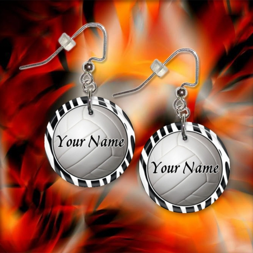 Personalized Volleyball Button Dangle Earrings