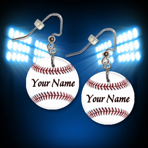 Personalized White Baseball Button Dangle Earrings
