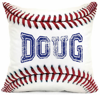 Personalized White Baseball Square Pillow