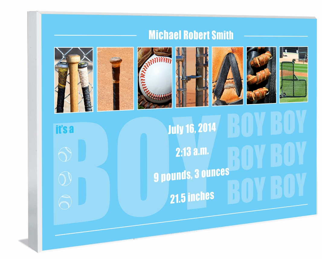 PERSONALIZED Wood Plaque<br>Baby Boy Baseball Letter Art<br>Blue Design 1
