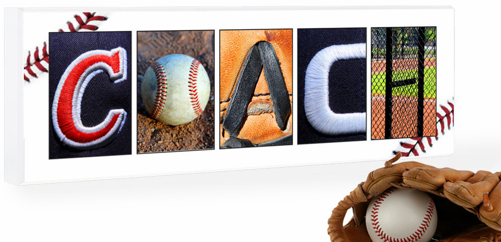 PERSONALIZED Wood Plaque<br>Baseball Letter Art