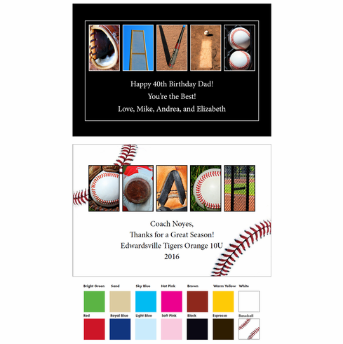 PERSONALIZED Wood Plaque<br>Baseball Letter Art<br>Up to 4 Lines of Text