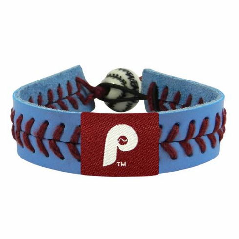 Philadelphia Philles Retro Logo<br>Baseball Seam Team Colored Bracelet
