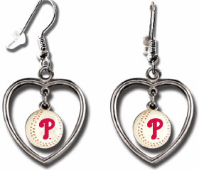 Philadelphia Phillies 3D Baseball Dangle Heart Earrings<br>ONLY 2 LEFT!