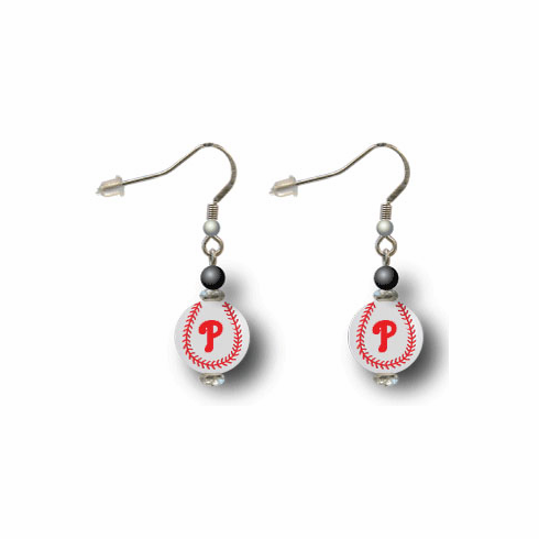 Philadelphia Phillies 3D Baseball Dangle Hook Earrings<br>ONLY 3 LEFT!