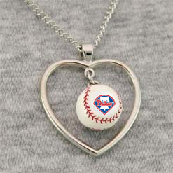 Philadelphia Phillies 3D Baseball Heart Pendant Necklace<br>ONLY 7 LEFT!