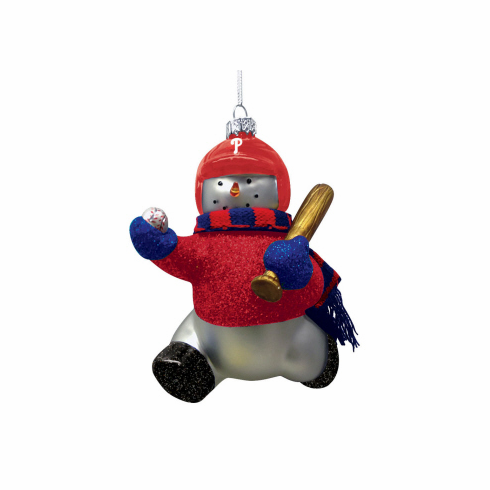 Philadelphia Phillies Blown Glass Snowman Ornament<br>ONLY 6 LEFT!
