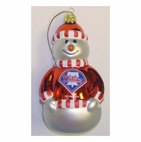 Philadelphia Phillies Glass Snowman Ornament<br>ONLY 1 LEFT!