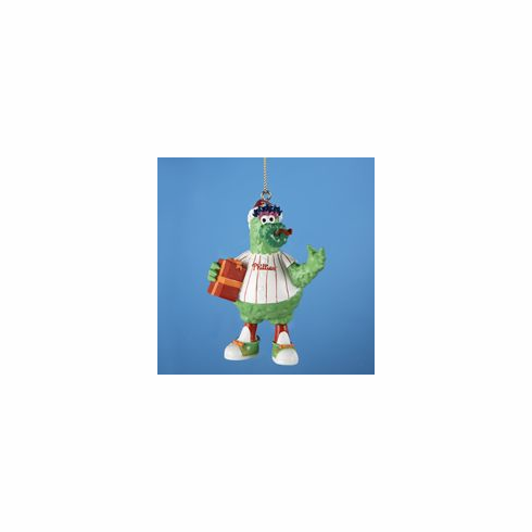 Phillie Phanatic Holding Present Resin Ornament<br>ONLY 1 LEFT!