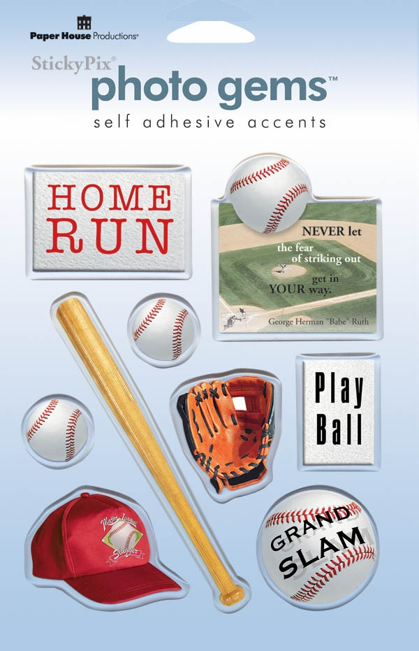 Photo Gems Epoxy Baseball Stickers