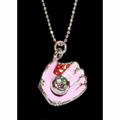 "WEEKLY SPECIAL #16<br>Pink Glove Crystal Baseball 17"" Necklace"