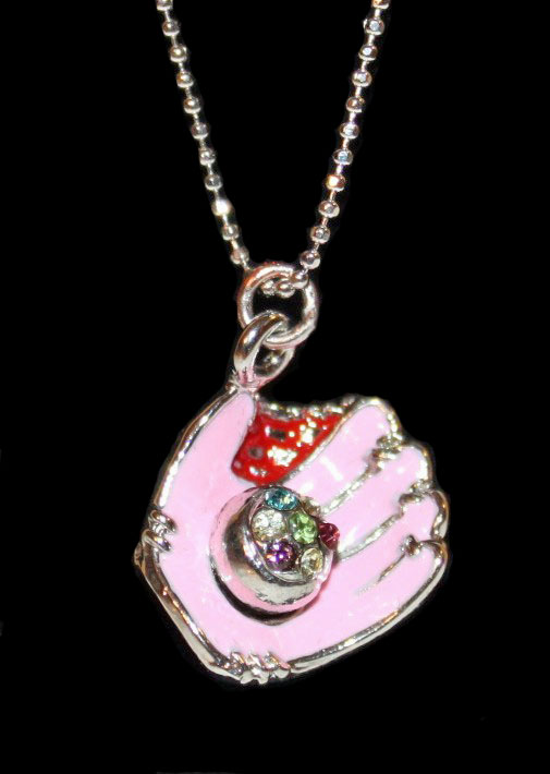 "Pink Glove Crystal Baseball 17"" Necklace"