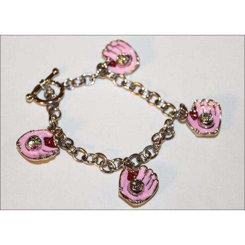 Pink Gloves Crystal Baseball Charm Bracelet