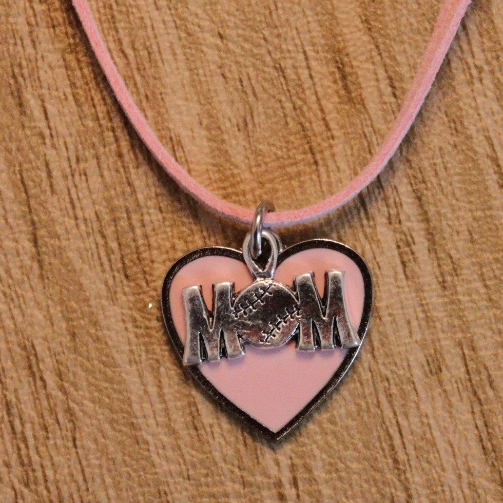 Pink Heart Baseball MOM Necklace
