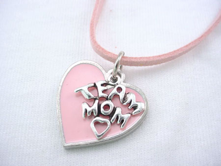 Pink Heart Team Mom Necklace