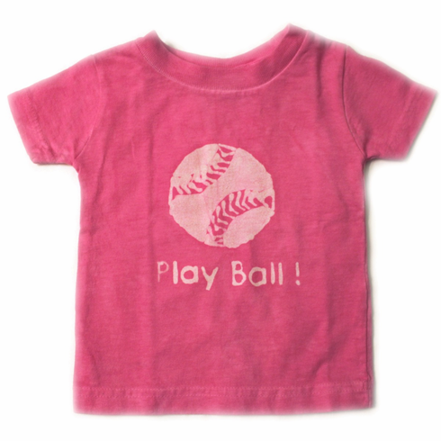Pink or Blue Play Ball Youth Baseball Tees by Lizzy Loo